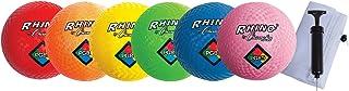 Champion Sports 游乐场球套装,带网眼储物袋和泵:6 种多色纹理尼龙软橡胶弹性室内室外球,非常适合儿童躲避球踢球四方或手球游戏