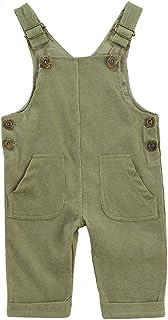 woshilaocai 新生婴儿男孩女孩围兜整体纯色灯芯绒背带裤裤子连身衣秋冬季服装