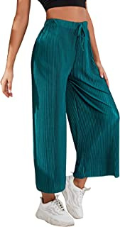 MakeMeChic 女式纯色阔腿裤褶皱宽松抽绳长裤