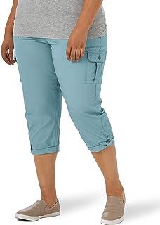 Lee 女式加大码弹性中腰工装七分裤