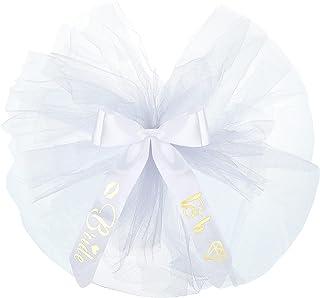 Bride To Be 比基尼面纱可爱蝴蝶结薄纱短靴罩泳衣面纱单身女郎长袍面纱,适合新娘伴娘泳池派对用品