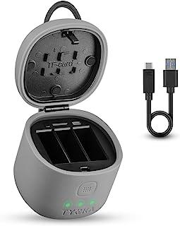 TYCKA 电池充电器适用于 GoPro Hero 8 Hero 7 Hero 6 Hero 5 相机,3 合 1 USB 三重电池充电器套件,带 3 个通道充电端口 + TF 读卡器 + 2 个卡槽防水电池保护套