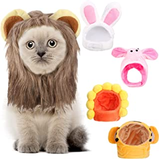 Frienda 5 件套可爱宠物帽配饰头饰可爱趣味头饰带向日葵兔耳朵老虎猪头狮子头样式可爱服装适合猫和小犬