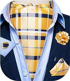 DiBanGu 4 件套编织领带口袋手帕袖扣和翻领别针套装 适用于婚礼新郎新郎
