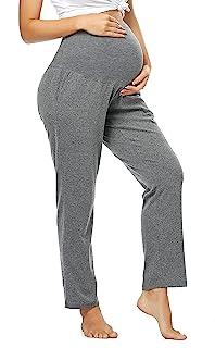 Quinee 女式孕妇裤带口袋瑜伽休息室睡衣孕妇运动裤