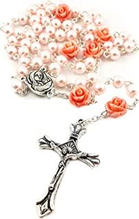 天主教粉色珍珠念珠项链 6 件玫瑰圣土壤*章和十字架