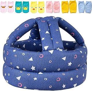 婴儿*头盔,婴儿头部保护罩,带 3 对婴儿护膝,用于爬行和 3 双婴儿袜,头垫缓冲帽子,软头护罩,适合幼儿学习走路,几何蓝色