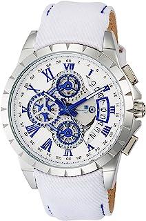 取寄品 正品Salvatore Marra手表 萨瓦托雷马拉 SM13119D-SSWHBL/WH 计时码表 皮革表带 防水 男士手表
