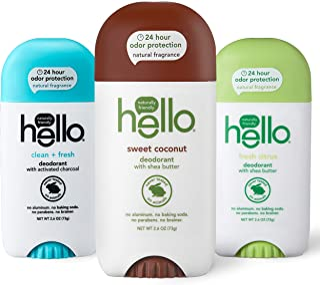 Hello *剂女士+男士,24 小时气味保护 - 甜椰子,新鲜柑橘,清新无铝,无烘焙苏打,素食,不含防腐剂,2.6 盎司,3 支装