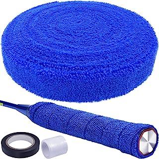 PSMILE 16.4 英尺 5M 蓝色棉毛巾握把*吸水毛巾网球拍防滑吸汗带胶带球拍抓地力专业球拍握带网球拍握带适用于网球羽毛球自行车手柄