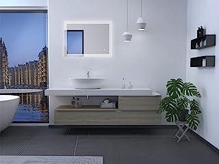 Talos Trace LED 浴室镜,银色,80 x 60 厘米