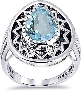 Orchid Jewelry 天蓝色黄玉 3.50 克拉梨形 925 纯银单粒戒指情人节礼物