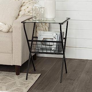 Walker Edison 现代金属和玻璃方形边桌,带杂志储物架客厅小端装饰桌,45.7 厘米,黑色