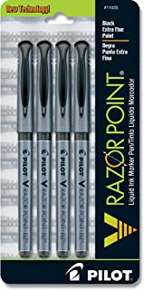 PILOT V Razor Point 液体墨水笔,超细笔尖,黑色墨水,4 支装 (11025)