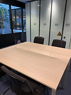 Jalema Fr 7999849 – 办公室会议屏幕| 5 毫米丙烯酸 | 保护膜大号 1400 毫米 x 600 毫米 适用于柜子透明,带文件导览 长 长 250 x 高 80 毫米