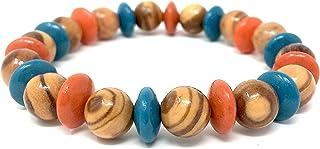 手链由真正的橄榄木珠天然配彩色橄榄木镜片制成的马洛卡木制首饰用橄榄木制成,也可佩戴脚链