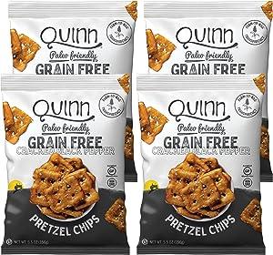Quinn 破裂胡椒和海盐不含盐谷物椒盐脆饼片,5.5 盎司袋(4 个装)