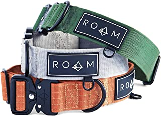 ROAM 高级狗项圈 - 可调节重型尼龙项圈,带快速释放金属扣(俄勒冈州黄昏,尺码 4)