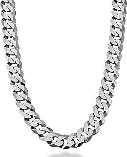 MiaBella 纯 925 纯银意大利 12mm 实心钻石切割古巴链式男士项链,18、20、22、24、26、28 英寸意大利制造