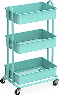 SimpleHouseware 重型 3 层金属实用滚动手推车,蓝*