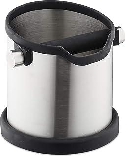 Relaxdays 冲水容器 咖啡套装 橡胶敲门杆 用于过滤架 过滤容器 不锈钢 银色