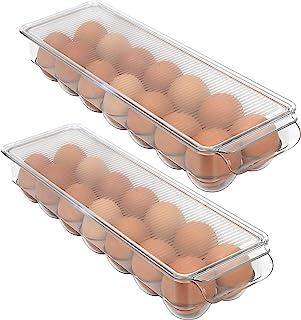 Greenco 可堆叠冰箱储物箱带盖,可存放 14 个鸡蛋,透明 2 个装,中号