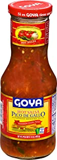 Goya Foods Pico De Gallo Hot Authentic Mexican Home-Style Chunky Salsa, 17.6 Ounce (Pack of 12)