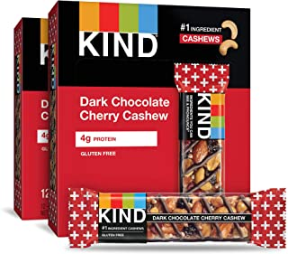 KIND 黑巧克力樱桃腰果棒,无麸质,1.4盎司,40克,24块