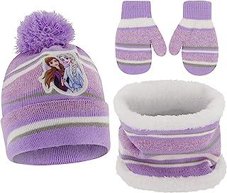 Disney 迪士尼女童冰雪奇缘艾莎和安娜帽子,围巾和手套或手套寒冷天气套装