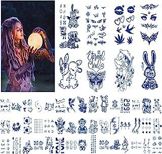 53 件女式临时纹身,半永久假*纹身,深蓝色,防水耐用防汗熊兔子玩偶,UFO 动物临时纹身,适合成人和女孩身体胸部