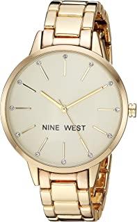 Nine West 女士水晶点缀金色手镯手表
