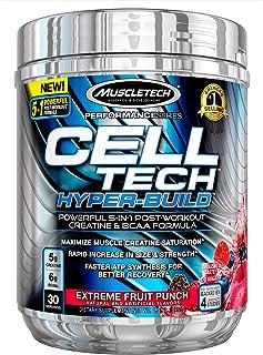 Creatine + BCAA 运动后电解质粉 | MuscleTech Cell-Tech Hyperbuild | 运动后恢复饮料含肌酸一水合物 + 支链氨基酸 | Extreme Fruit Punch (30 份)
