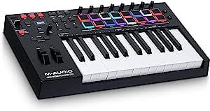 M-Audio Oxygen Pro 25 – 25键 USB MIDI 键盘控制器,带节拍垫,MIDI 可分配的控制器和按键和软件包