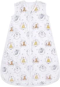 aden + anais 睡袋,* 纯棉平纹细布,可穿戴婴儿襁褓毯,睡袋,小号,0-6 个月,小熊维尼