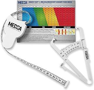 身体带测量和皮肤卡钳 - 4 件套 - 皮肤折叠体脂分析仪和 BMI 测量工具,白色