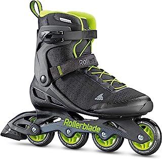 Rollerblade Zetrablade Elite 男士成人健身内联滑冰,黑色和绿黄色,高性能直排轮滑