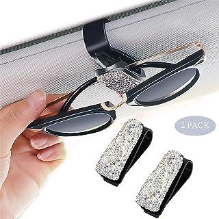 Innopics 2 件装汽车太阳镜支架遮阳眼镜盒,ABS 眼镜架,防护盒夹,饰有闪亮水钻水晶票夹