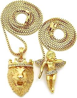 Shiny Jewelers USA 男士嘻哈耶稣狮子王祈祷天使希腊神圆形*章吊坠盒链项链 2 件套