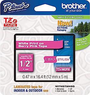 Brother 兄弟 P-touch TZE-MQP35 胶带, 1.2 厘米(1.2 厘米)宽标准层压胶带,浆果粉白色,层压,适合室内或室外使用,防水,0.4 英寸 x 16.4 英寸(12 毫米 x 5 米),TZEMQP35