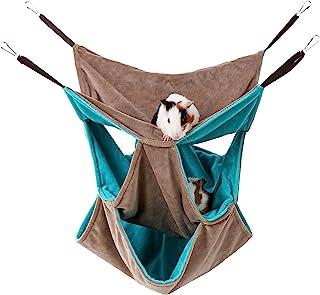 宠物笼吊床,小型动物吊床袋 3 层,温暖舒适的吊床三重,双层笼子隐藏房屋洞穴,适用于糖滑梯雪貂松鼠仓鼠 Chinchilla 睡觉玩耍