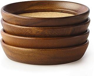 Kamenstein 4件套自然合欢木软木可堆叠杯垫