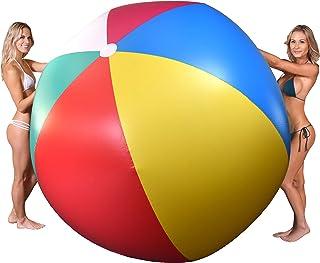 GoFloats 6' 巨型充气沙滩球   选择 'Merica 或经典设计   超大超大沙滩球,带补丁修复套件