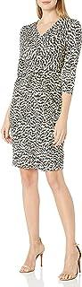 Amazon Brand - Lark & Ro 女式长袖哑光针织扭褶连衣裙