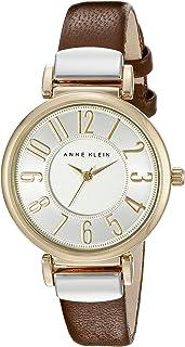 ANNE KLEIN 双色棕色皮革表带手表