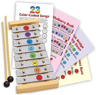 Glockenspiel 8 Note - 木琴 8 个带彩色贴纸 - 23 张彩色编码卡