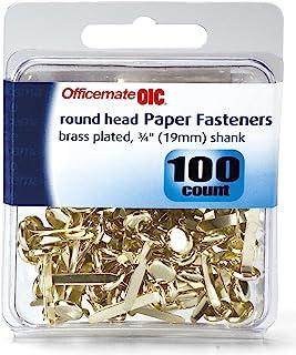 Officemate International 97220 5/16 英寸黄铜镀层翻盖紧固件 100 件