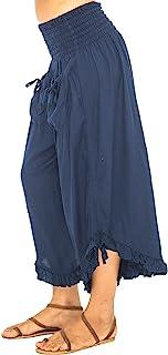 后 from Bali 女式七分阔腿裤休闲西裤舒适纯色弹性腰围 海蓝色 Large/X-Large