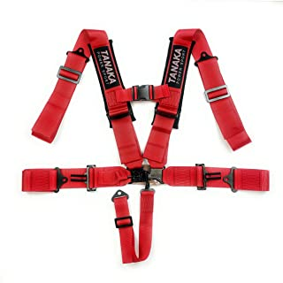 TPS Tanaka Power Sport 高性能 5 点 3 英寸(约 7.6 厘米)肩带闩锁和连接*带*带带肩垫适用于 SSV、ATV 越野车辆(红色)