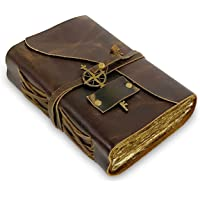 厚复古皮革杂志 - 复古手工皮革装订日记本 带老式甲板边缘纸 - 非常适合书写,一本阴影日记本,一本Grimoire,素…