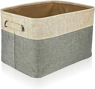 Vumeruo 便携式储物篮,可折叠装饰盒子,布可以收纳便携式篮子,立方体储物盒,方便的露营储物盒,[14.75 x 8 x 11 英寸(约 37.3 x 20.3 x 27.9 厘米)](米色)